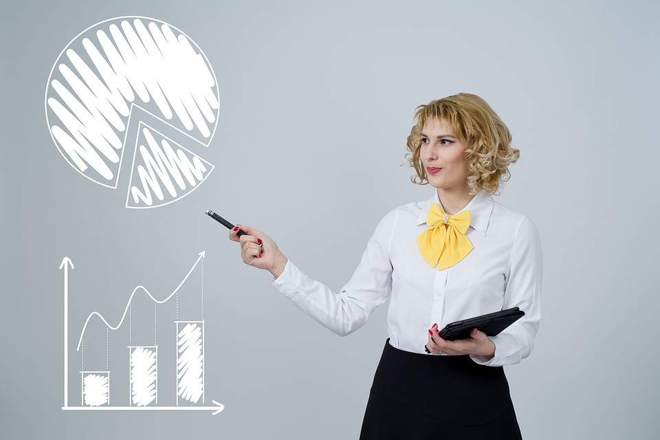 Woman pointing at charts